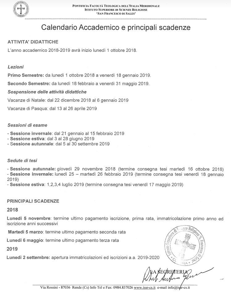 Calendario Maggio Giugno Luglio 2019.Calendario Accademico 2018 2019 Issr San Francesco Di Sales